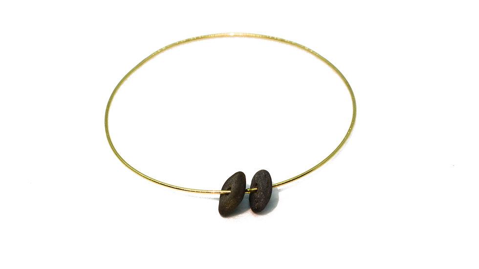 Bracelet galet - Deux galets et jonc or