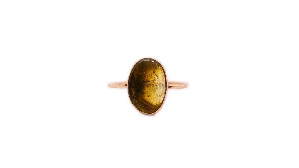 Bague matissage - Tourmaline olive