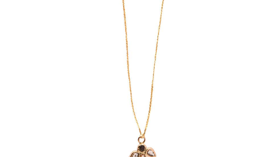 Collier lumière - Ange 3 diamants et grain de sable