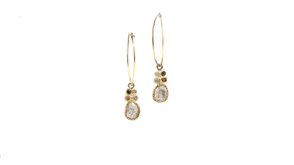 Boucle d'oreilles sable & diamants - Diamants et grain de sable