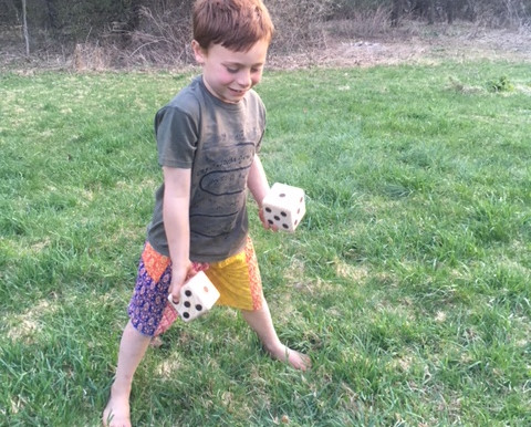 Outdoor Yahtzee Style Dice Game for First Grade