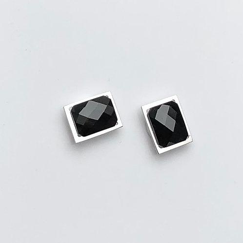 Silver earrings black spinel