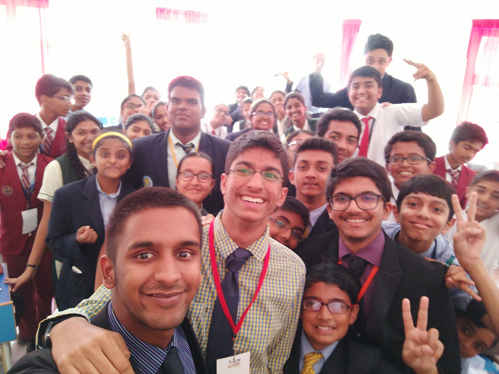 Nikunj with students he trained for Model UN