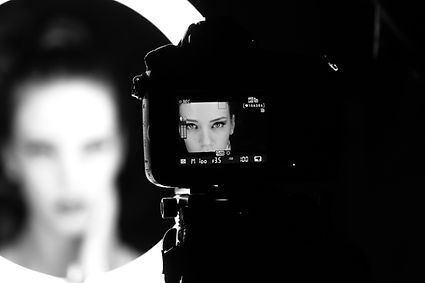 View of actress through viewfinder
