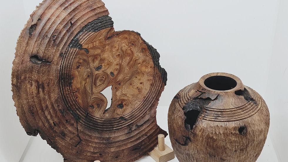Siblings elm vase & platter