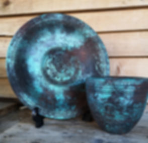 patina effect_ textured platter and vase