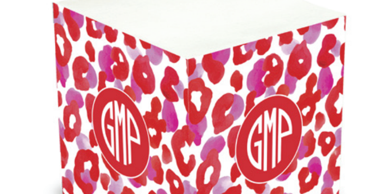 Red Leopard Sticky Memo Cube