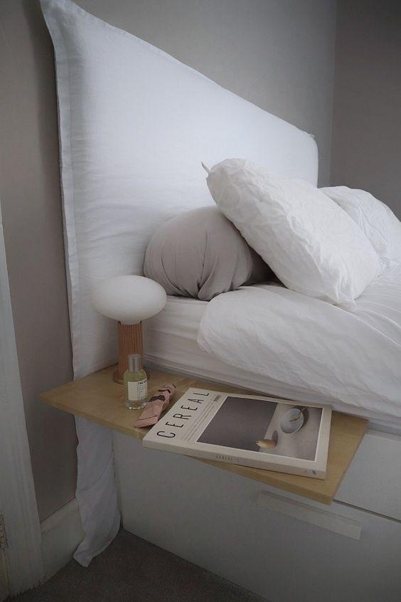 Cabecero y cama de lino