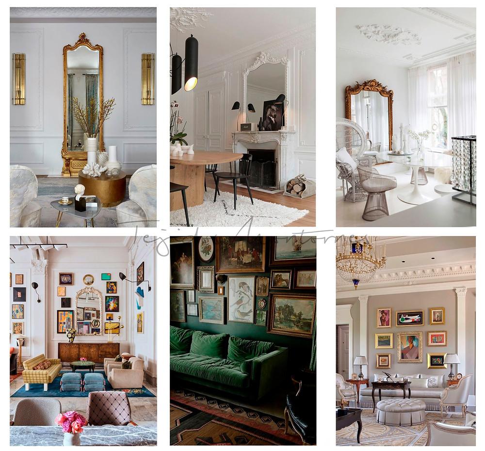 decoración estilo imperio, clásico, espejos, molduras