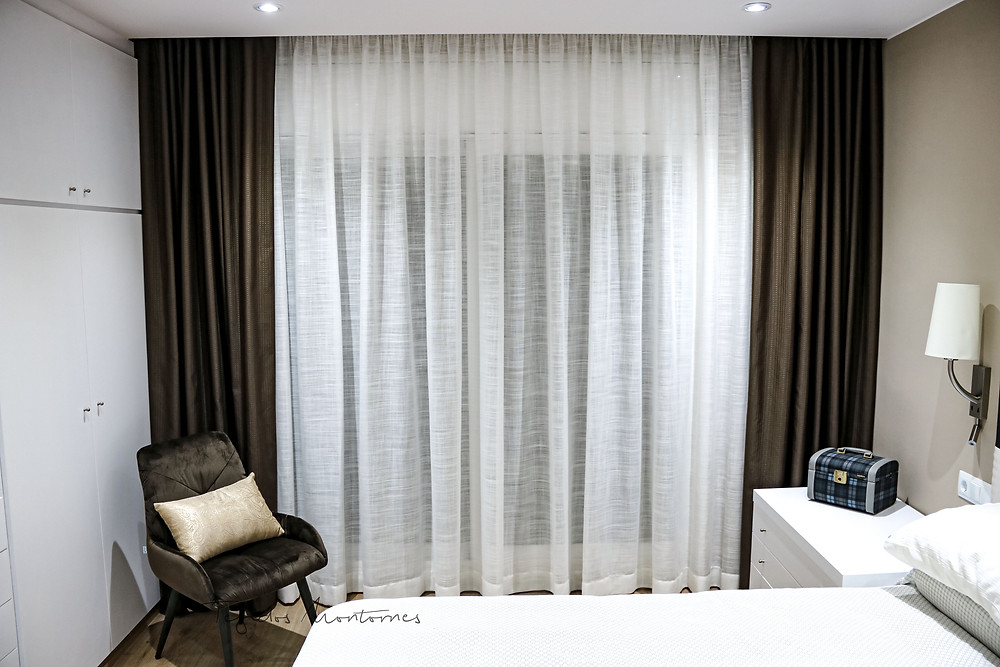 cortina rizada con caídas decorativas