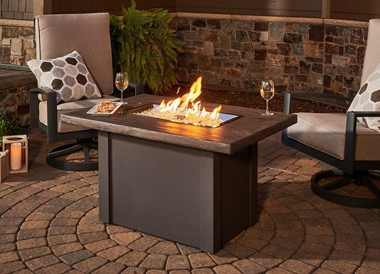 Outdoor Great Room Fire Pit, Driftwood Havenwood, Rectangular Gas Fire Pit Table