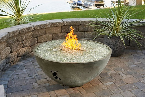 """Outdoor GreatRoom Cove Edge Firepit, 42"""" Round Fire Pit Bowl, Natural Grey"""