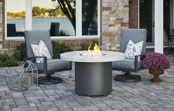Outdoor GreatRoom Fire Pit, White Onyx  Beacon Dining Fire Pit Table