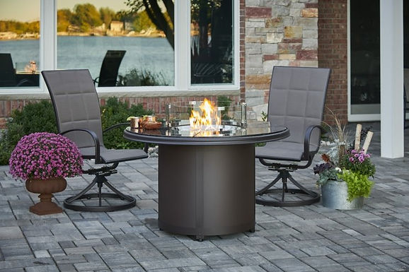 Outdoor Great Room Firepit, Beacon, Brown Granite, Dining Height Fire Pit Table