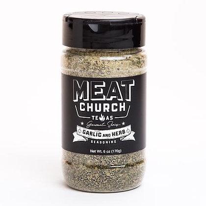 Meat Church BBQ Seasoning, Gourmet Garlic & Herb (6 oz)