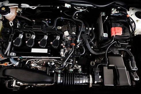 Close Up Detail Of New Car Engine The Po