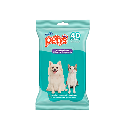 Pañitos humedos para mascotas con clorhexidina petys