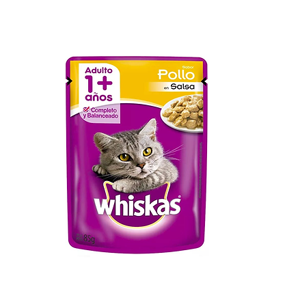 Whiskas alimento humedo gatos sabor a pollo x 85gr
