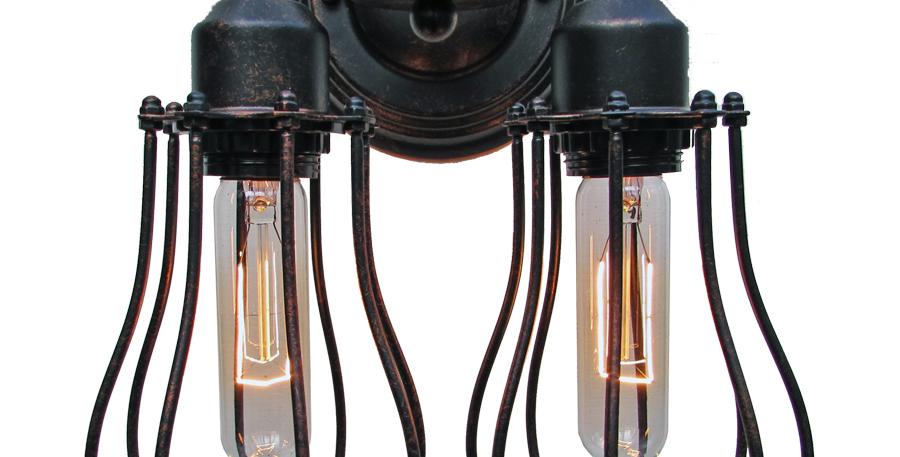 Industrial Twin Cage Wall Light