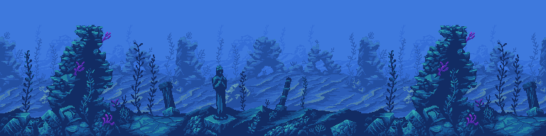 Picture of a pixel art interpretation of a fantasy underwater scene complete with blue water, towering stacks of rocks, seaweed and crumbling statues.