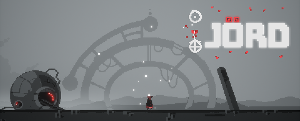An image of a lone robot with red colored lighting in the middle of a desolate landscape. To the left is a broken down spherical robot with a few shimmering red lights. In the background appears to be a large, circular, broke gateway to part unkown.