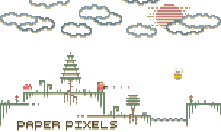 A tile set named paper pixels. It has a unique design that doesn't fill in the shapes except for enemies and playable characters.