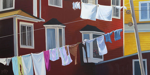 Hanging Out Together, laundry on the line, oil painting