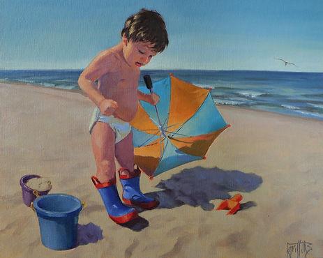 Rainboots on the beach, oil painting