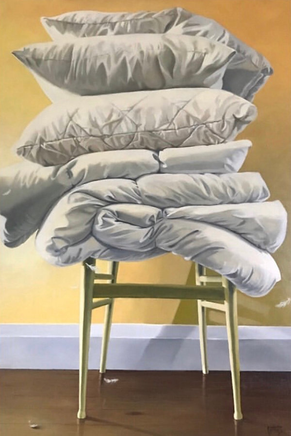 Featherweight, oil painting of pillows and duvets stacked on a chair
