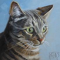 portrait painting of a cat