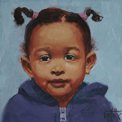portrait painting of a little girl