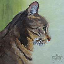 oil painting of a tabby cat