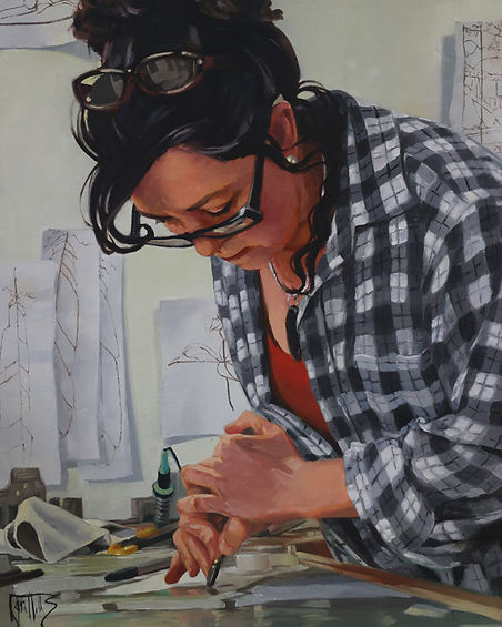 Portrait painting, at work in the studio