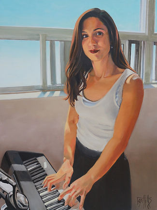 portrait painting of a young adult at the piano
