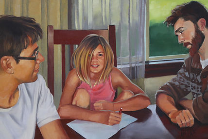 oil painting of family
