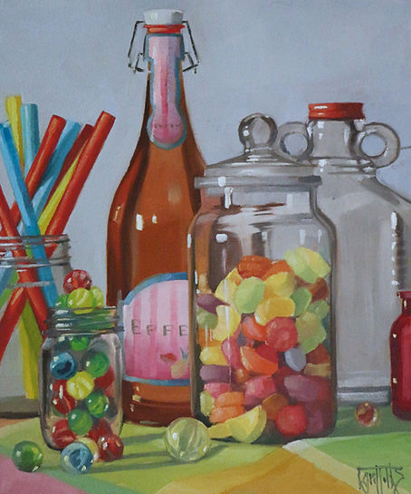 Marbles and Glass Jars
