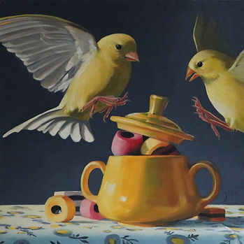 oil painting of yellow birds and liquorice all sorts