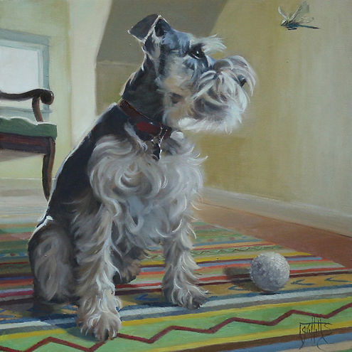 Portrait of a dog, miniature schnauzer oil painting