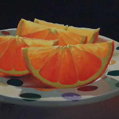 oil painting of sliced oranges on a polka dot plate