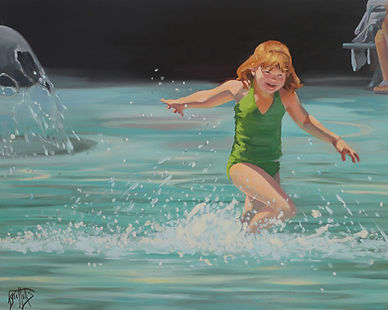 A Big Splash, painting of a girl playing