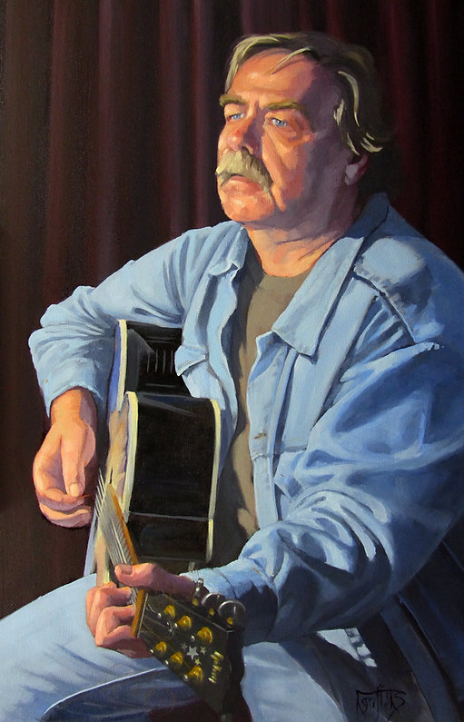 portrait painting of man playing guitar
