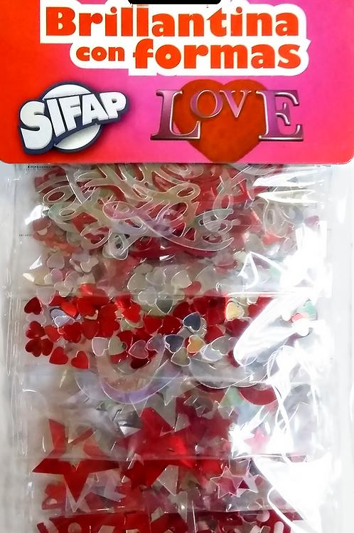 Brillantina con formas Sifap Love  x 5 u