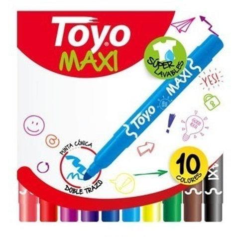 Marcadores Fibras Toyo Maxi Junior x 10 u.