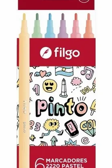 Marcadores Fibras Filgo Pastel Pinto x 6 u.