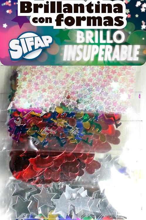Brillantina con formas Sifap x 5 u Brillo insuperable