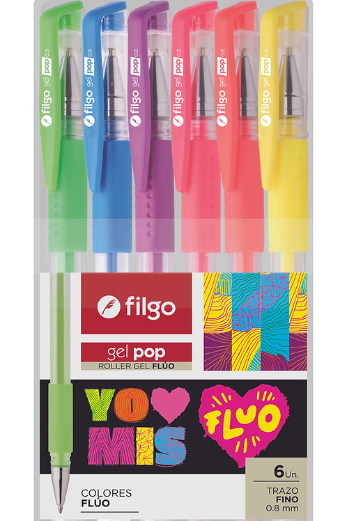Roller Filgo gel x 6 colores Fluo estuche