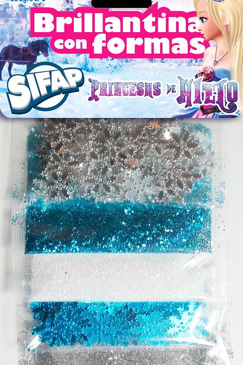 Brillantina con formas Sifap x 5 u Princesa Hielo
