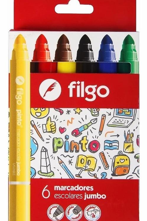 Marcadores Fibras Filgo Pinto Jumbo x 6 u.