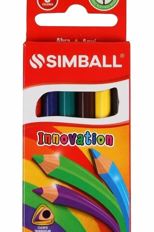 Lapices de Colores Simball cortos x 6 u.