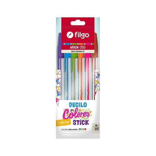 Boligrafo Filgo Flow x 6 colores blister